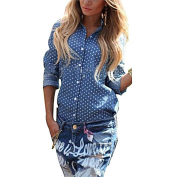 New Arrival Fashion Women Shirts European Style Sexy Halter Blouse Casual Top Long Sleeve  Lapel Buttons Back Split Shirts