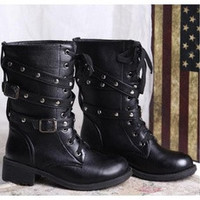Womens Lace Up Combat Punk Martin Boot Mid Calf Ankle Boots [8238498823]