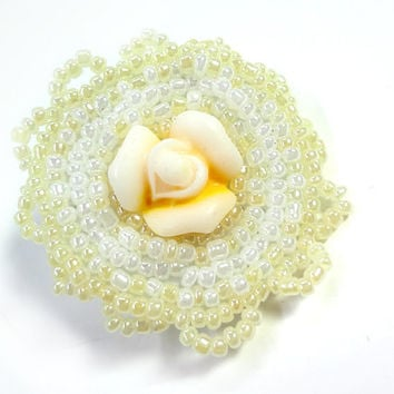 Soft Yellow and White Flower Brooch Pin