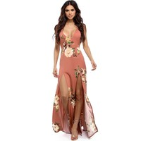 Print Spaghetti Strap Sexy Backless Split Prom Dress One Piece Dress [11182519495]