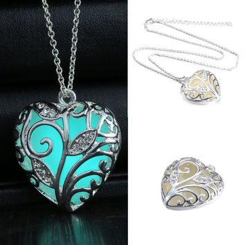 Turquoise Glow In the Dark Heart Necklace Pendant Locket Gift for Daughter Women