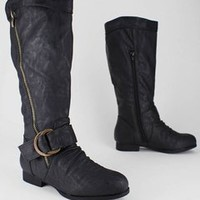 double zip leatherette boot