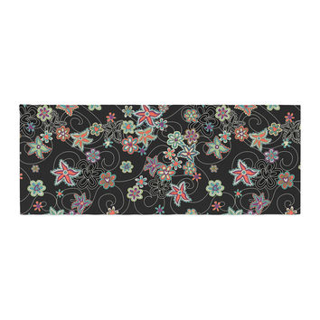 """Julia Grifol """"My Small Flowers"""" Black Floral Bed Runner"""