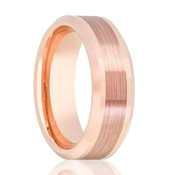 Aydins Rose Gold Brushed Center Line Mens Tungsten Wedding Band 8mm Beveled Edge Tungsten Carbide Wedding Ring