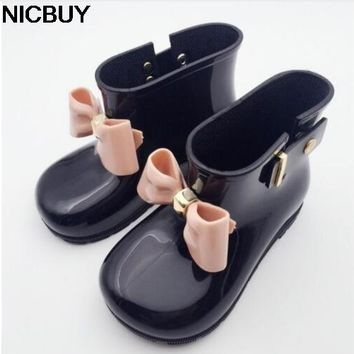 2018  Hot Baby Kids Spring Autumn baby girls Rain Boots Warm Beauty Bow Rainboots  Rubber Shoes Toddler Kids Jelly shoes