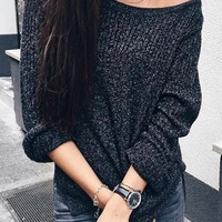 Black Irregular High-low Off Shoulder side split V-neck Oversize Pullover Sweater