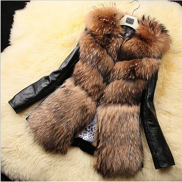 2016 Women's Thick Winter Fox Fur Patchwork Down Jacket Coat Outwear Garment Ladies Vintage Down Cotton Overcoat