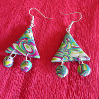 colorful affordable earrings,polymer clay jewelry,polymer clay earrings,boho earrings,multicolor earrings,exotic earrings,retro earrings