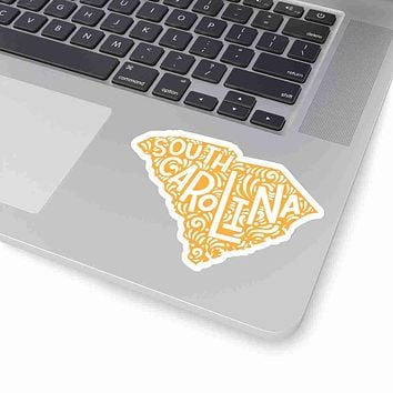 South Carolina State Shape Sticker Decal - Yellow