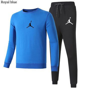 NIKE AIR JORDAN autumn and winter models new casual fashion fitness sportswear two-piece Royal blue