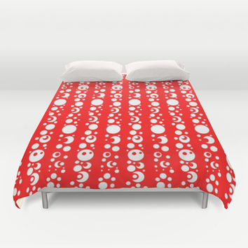 RED WHITE Duvet Cover by Robleedesigns