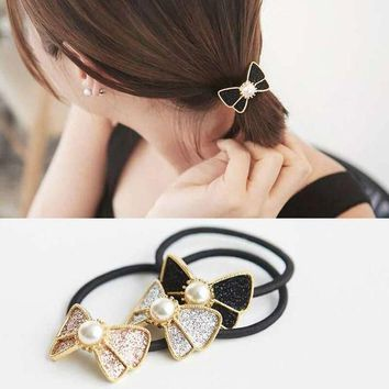 ONETOW 1Piece Women Crystal Sweet Pearl Hair Band Rope Elastic Ponytail Holder Bowknot Chic