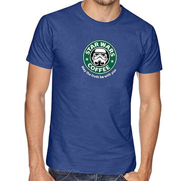 STAR DARTH VADER WAR INSPIRED FUNNY SLOGAN THUMBLR STARBUCKS T SHIRT TOP TEE - Blue