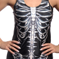 Black Skeleton Bones Tank Top Design 13046