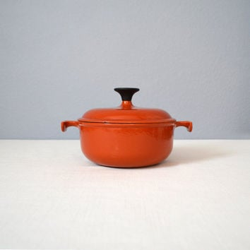 Vintage Enzo Mari La Mama Le Creuset Cast Iron and Enamel Covered Casserole