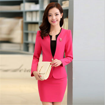 Plus Size Candy Color Skirt Suits Summer Style 2016 Women Business Suits Formal Office Suits Work Elegant Blazer Feminino 3XL