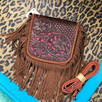 Real leather fringe cross body purse with pink detail