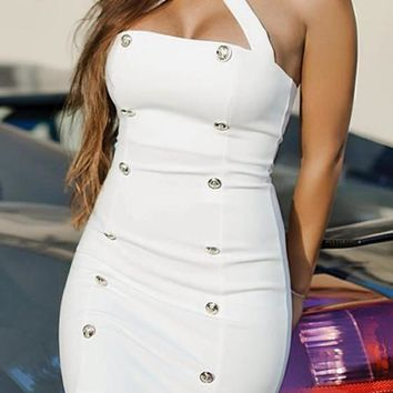 New Women White Plain Zipper Studded Fashion Mini Dress