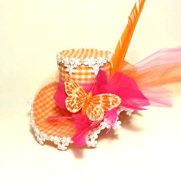 Easter Bonnet, Mini Top Hat, Birthday Hat, Fascinator, Mad Hatter Hat, Orange Hat, Hot Pink Hat, Butterfly