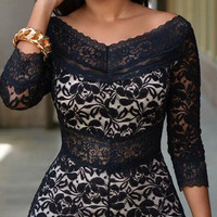 Black Lace V-neck 3/4 Sleeve Short Slim Jumpsuit