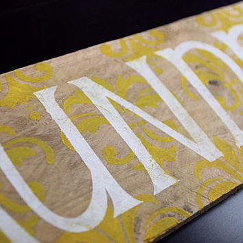 Laundry Damask Wooden Sign - Yellow