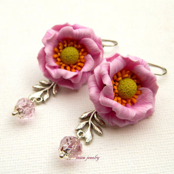 Flower earrings - Pink earrings - Windflower - Romantic earrings - Handmade spring earrings