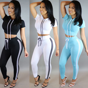 2016 Fashion Women Two Piece Outfits Pants Set Rompers Jumpsuit Long Pants 2 Piece Set O-Neck Crop Tops Bodycon Palysuit