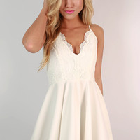 Crochet & Perfection Fit & Flare Dress in White