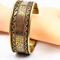 Brass and Copper Cuff Bracelet, Hand Crafted Wide Cuff, Vintage Jewelry