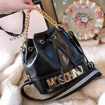 MOSCHINO New High Quality Fashion Women Shopping Leather Handbag Shoulder Bag Bucket Bag Crossbody Satchel