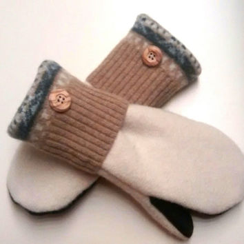 Cream and Caramel, Etsy mittens, recycled sweaters, women's mittens, fleece lined mittens, felted wool mittens, etsy sweater mittens, small