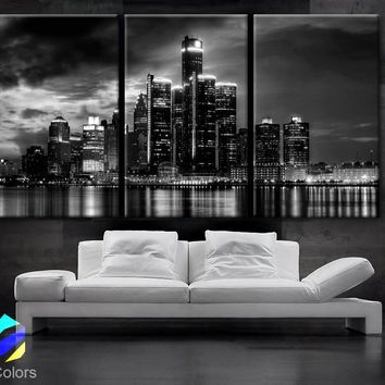 "LARGE 30""x 60"" 3 Panels Art Canvas Print beautiful Detroit Skyline Black & White Wall Home (Included framed 1.5"" depth)"