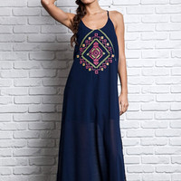 Embroidered Tribal Design Boho Maxi Dress
