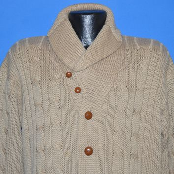 70s Cable Knit Shawl Collar Cardigan Sweater Large