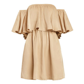 Khaki Off The Shoulder A-Line Dress