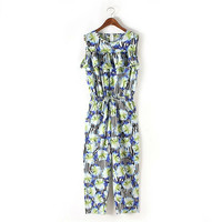 Sleeveless Jumpsuit - Floral pattern  = 4777456260