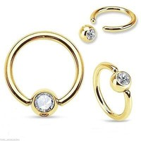 "Captive Nose Ear Ring 18 Gauge 5/16"" Gold Plate w/Clear 3mm Gem Body Jewelry"