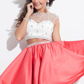 Short Illusion Sweetheart Two Piece Rachel Allan Dress
