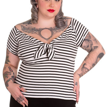 Hell Bunny Plus Pinup Doll Nautical Striped Wide V Neck Sailor Top