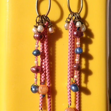 Extra long pink dangle earrings with freshwater pearls / eye candy / boho glam /handmade/chain jewelry