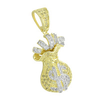 Money Bag Pendant Iced Out Gold Finish Canary White Simulated Diamonds