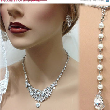 Wedding jewelry set, Bridal back drop bib necklace and earrings, vintage inspired crystal pearl necklace statement, crystal jewelry set