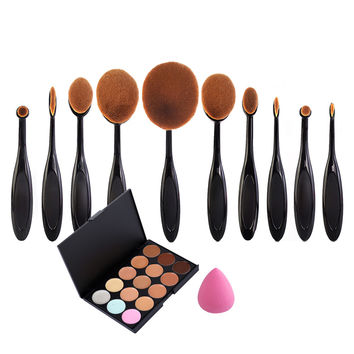 10 x Beauty Toothbrush Eyeliner Lip Oval Brushes + Powder Puff+15 Colors Concealer Palette Set maquillaje