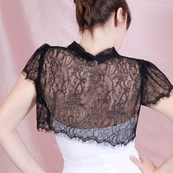 Black  /white /ivory/  Bridal solstiss lace  style/ shrug / jacket / wedding bolero  /short-sleeve
