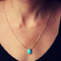 Turquoise teardrop smooth briolette gemstone on a 14k gold fill chain, simple gold necklace