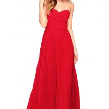 LUCLUC Red Sweetheart Pleated Chiffon Maxi Dress - LUCLUC