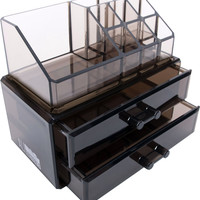 Black Acrylic Beauty Makeup Cosmetic Drawer Organizer and Jewelry Display Case Storage
