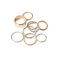 FOREVER 21 Textured Midi Ring Set Silver/Gold