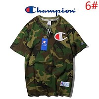Champion New fashion bust  embroidery logo solid color camouflage couple top t-shirt