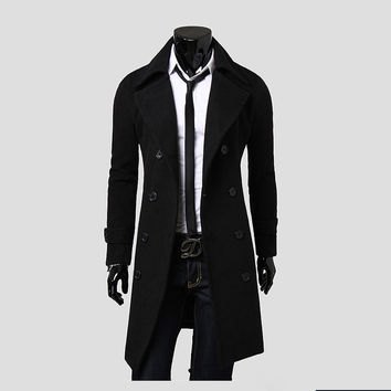 trench coat men solid color long trench coat mens trench coat slim fit trench Double Breasted Overcoat 3 colors SM6